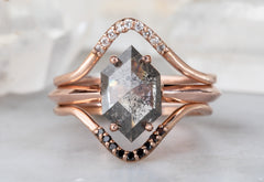 Salt + Pepper Hexagon Diamond Engagement Ring with Knife Edge Band