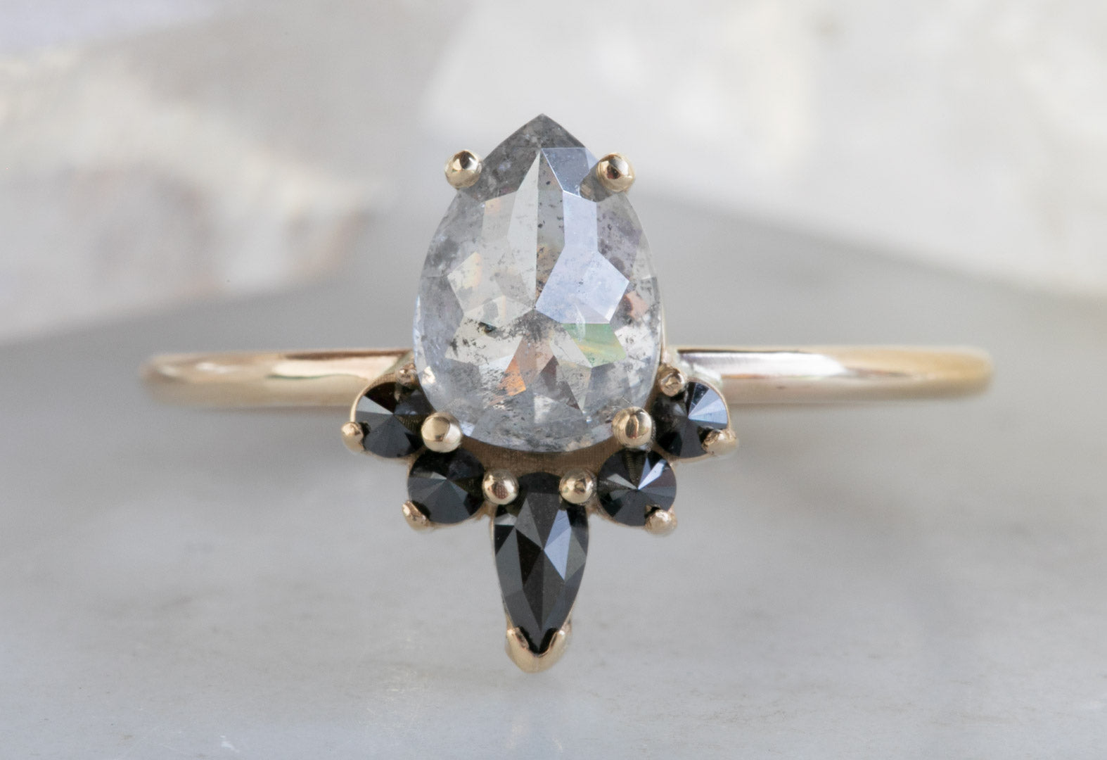 Rose Cut Opalescent Diamond Engagement Ring with Black Diamond Sunburst
