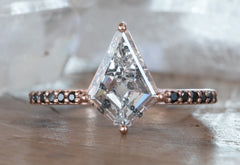 One Of A Kind Kite-Shaped Diamond Engagement Ring with Pavé Band