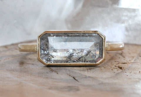 One of a Kind  Emerald Cut Salt + Pepper Diamond Engagement Ring