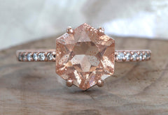 Sunstone Hexagon Engagement Ring with Pavé Band