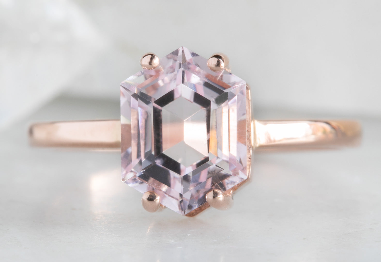 Pink Morganite Step-Cut Hexagon Engagement Ring