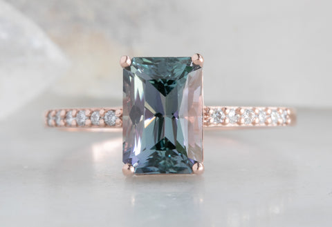 One of a Kind Emerald-Cut Tanzanite Engagement Ring with Pavé Band