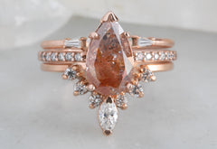 One of a Kind Red Pear Cut Diamond Engagement Ring with Pavé Band