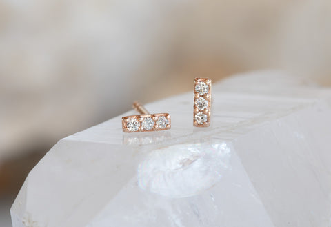 Teensy Diamond Bar Studs