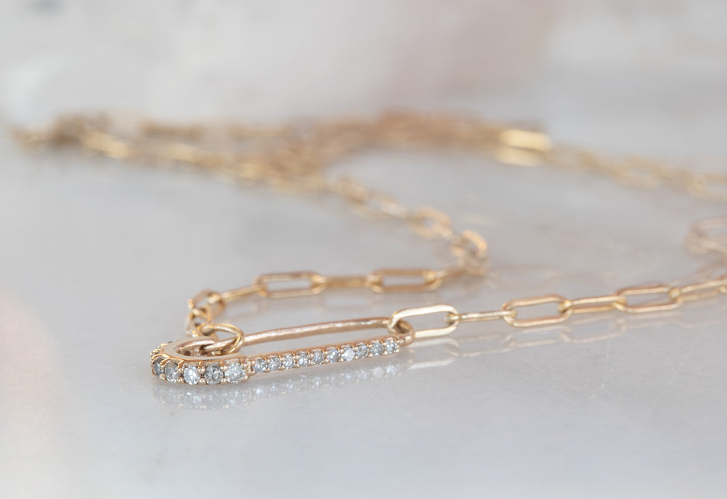 Pavé Diamond Sari Pin Necklace