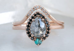 Rose Cut Salt + Pepper Engagement Ring with Turquoise + Black Diamond Halo