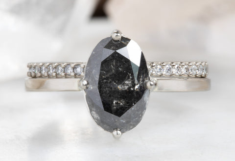 One of a Kind Oval Cut Black Diamond Engagement Ring
