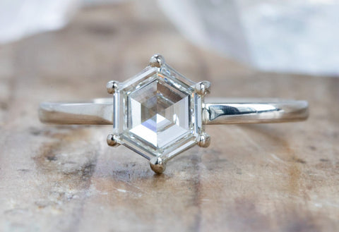 White Step-Cut Hexagon Diamond Engagement Ring