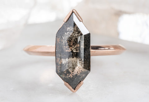 Black Step Cut Hexagon Diamond Engagement Ring with Knife Edge Band