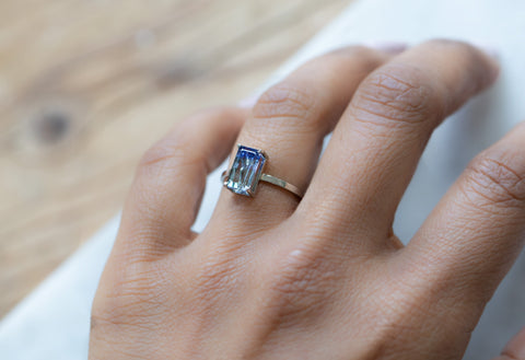 One Of A Kind Bi-Color Tanzanite Solitaire Engagement Ring