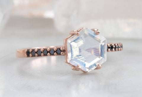 Hexagon Moonstone Engagement Ring with Black Pavé Diamond Band