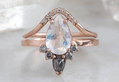 Pear Cut Moonstone Engagement Ring with Black + White Diamond Sunburst