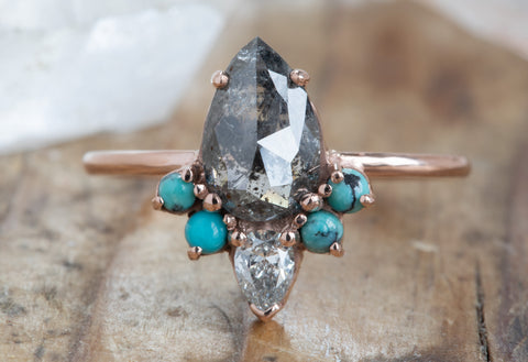 Rose Cut Black Diamond Engagement Ring with Turquoise and White Diamond Sunburst