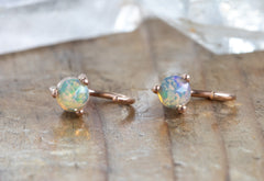 Opal Huggie Stud Earrings