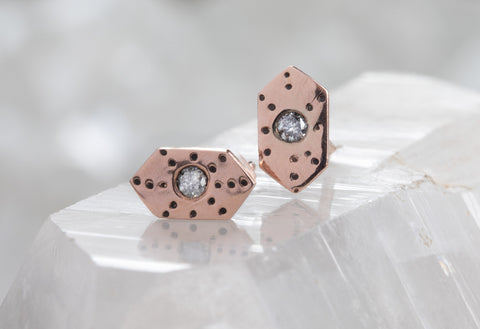 Hexagon Stardust Stud Earrings