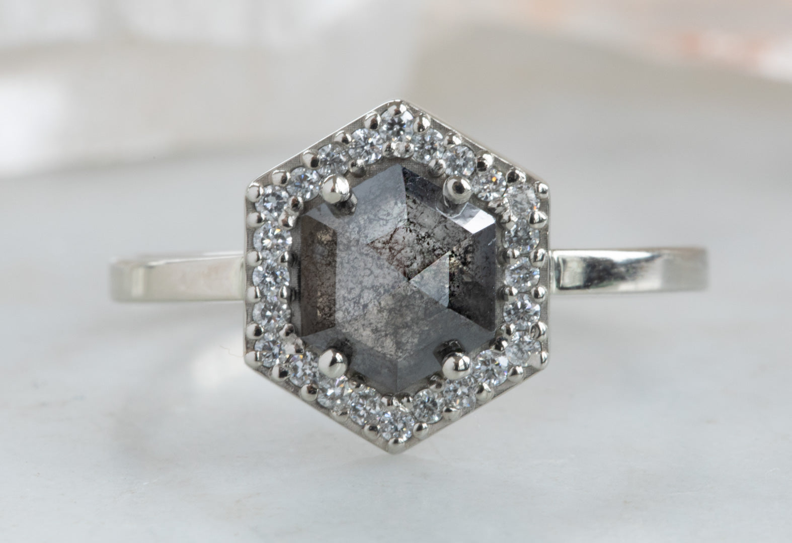 Step Cut Hexagon Black Diamond Engagement Ring with Halo