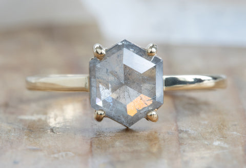 Opalescent Grey Hexagon Diamond Engagement Ring