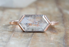 Salt + Pepper Hexagon Diamond Engagement Ring