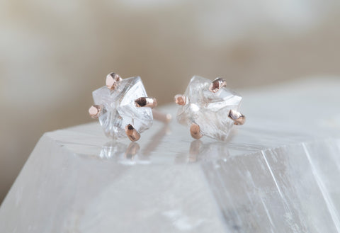 Natural Rough White Diamond Stud Earrings