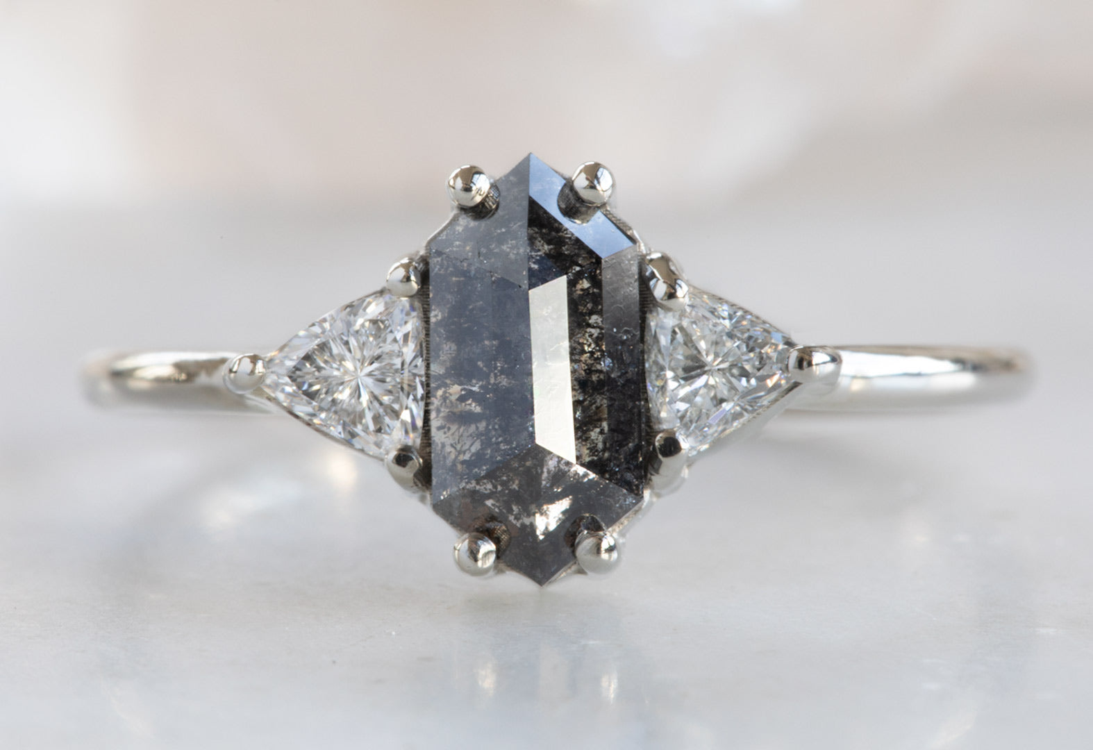Three Stone Black + White Diamond Engagement Ring