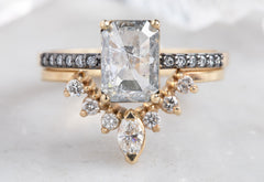 Emerald Cut Salt + Pepper Diamond Engagement Ring with Black Gold Pavé Band