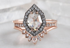 One Of A Kind Pink Diamond Engagement Ring with Black Gold Pavé Halo