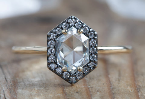 White Diamond Hexagon Engagement Ring with Black Gold Pavé Diamond Halo