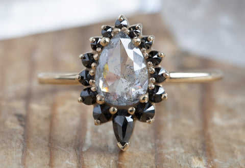 Rose Cut Salt + Pepper Diamond Engagement Ring with Black Diamond Sunburst Halo