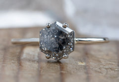 One of a Kind Black Hexagon Diamond Engagement Ring