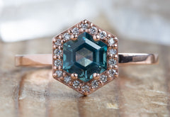 Montana Sapphire Hexagon Engagement Ring with Diamond Halo