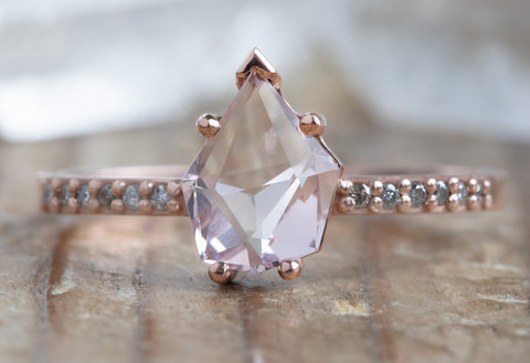 Geometric Morganite Engagement Ring with Pavé Diamond Band