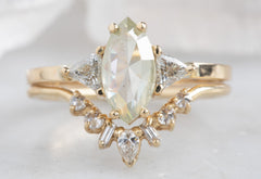 Marquis Cut Yellow/Green Diamond Engagement Ring