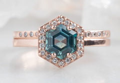 Sapphire Hexagon Engagement Ring with Diamond Halo