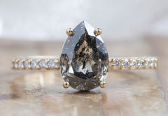 Pear Cut Black Diamond Engagement Ring with Pavé Band