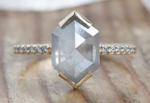 Hexagon Cut Diamond Engagement Ring with Pavé Band