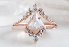 Kite-Shaped Opalescent Pink-Red Diamond Engagement Ring with Attached Sunburst