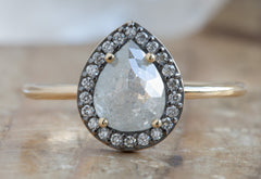 Rose Cut Grey Diamond Engagement Ring with Black Gold Halo