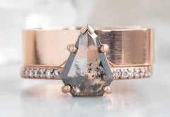 Geometric Salt + Pepper Diamond Engagement Ring with Pavé Band