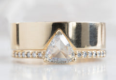 White Trillion Diamond Engagement Ring with Pavé Band