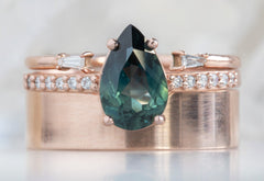 Pear Cut Dark Blue / Green Sapphire Engagement Ring with Pavé Band
