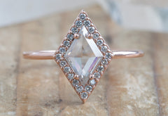 Kite-Shaped White Diamond Engagement Ring with Halo