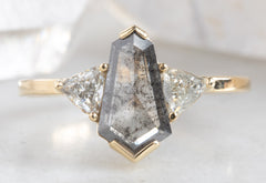Three-Stone Salt + Pepper Hexagon Diamond Engagement Ring