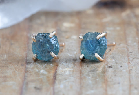 Raw Sapphire Stud Earrings