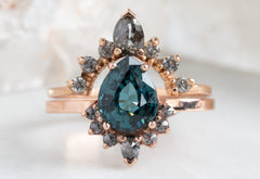 Pear Cut Sapphire Engagement Ring with Attached Grey Diamond Sunburst