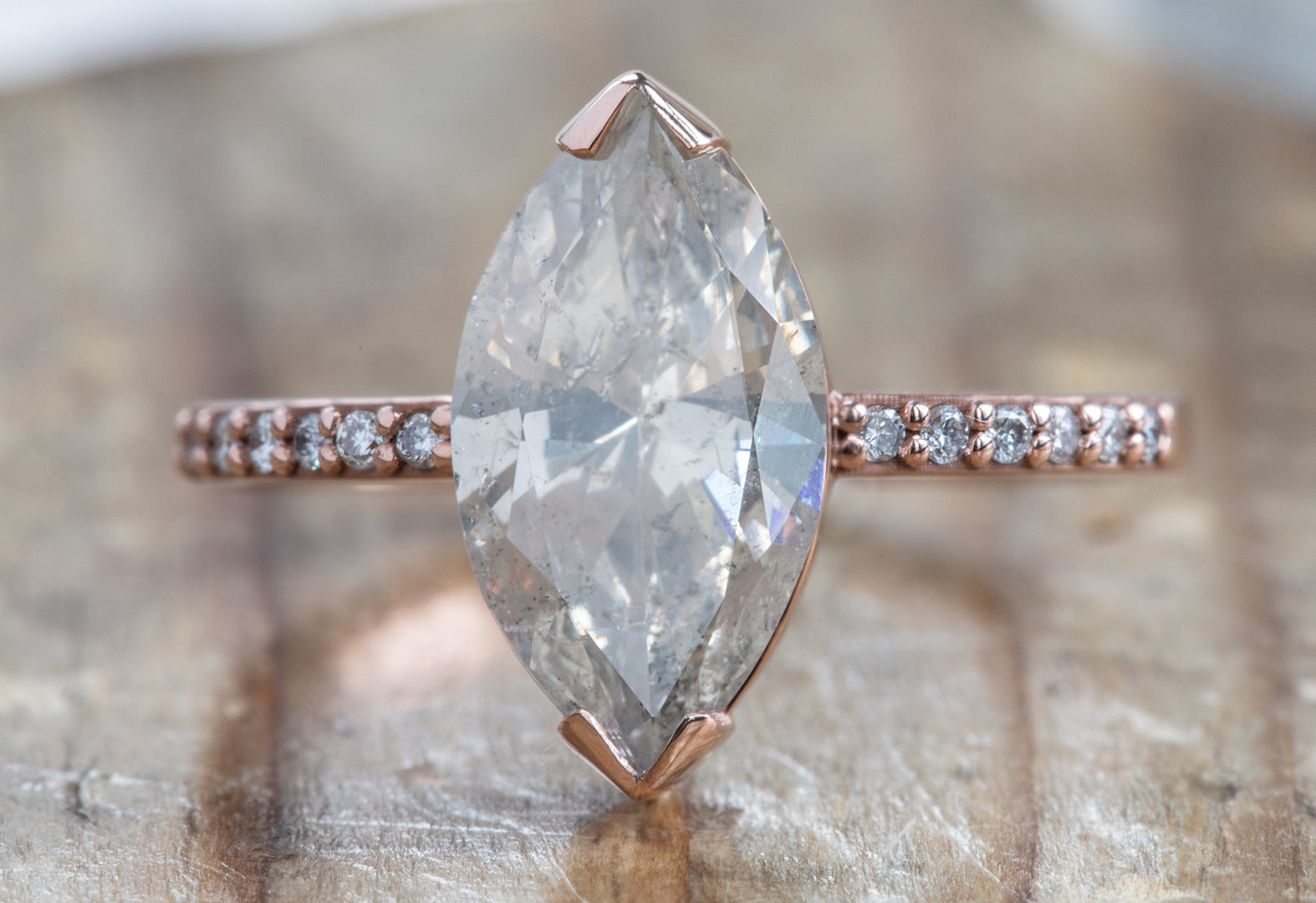 Opalescent Pink Marquise Cut Diamond Engagement Ring with Pavé
