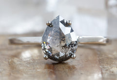 Rose Cut Salt + Pepper Diamond Engagement Ring