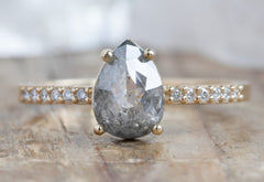 One of a Kind Grey Rose-Cut Diamond Engagement Ring with Pavé Band