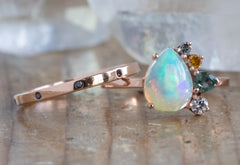 Opal + Gemstone Cluster Engagement Ring