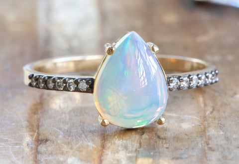 The Willow Ring with a Pear-Cut Opal